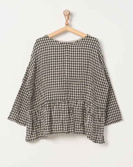 ICHI ANTIQUITES Cotton Wool Gingham Pullover - Natural/Black