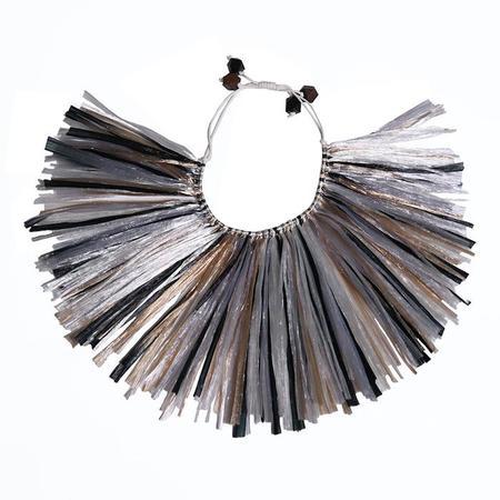 Kids Tia Cibani Himba Raffia Collar jewelry - Safari Grey