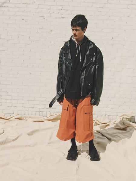 Marni Calf Leather Split Back Oversized Biker Jacket - Black