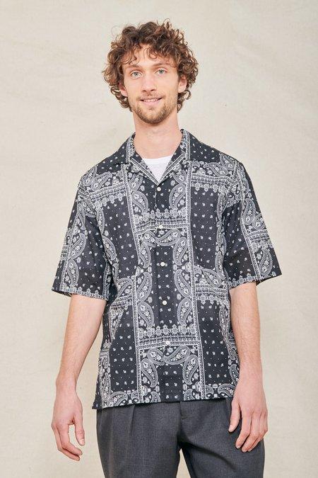 Officine Generale Eren Camp-Collar Bandana Print Shirt - Black/White