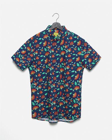 Poplin & Co. Vintage Floral Button Down Short Sleeve Shirt