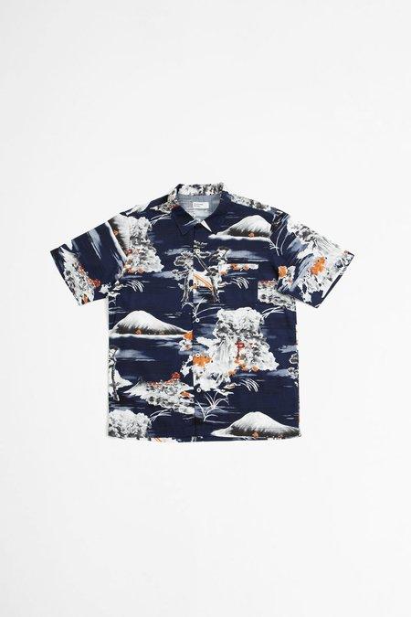 Universal Works Road fuji summer print shirt - navy