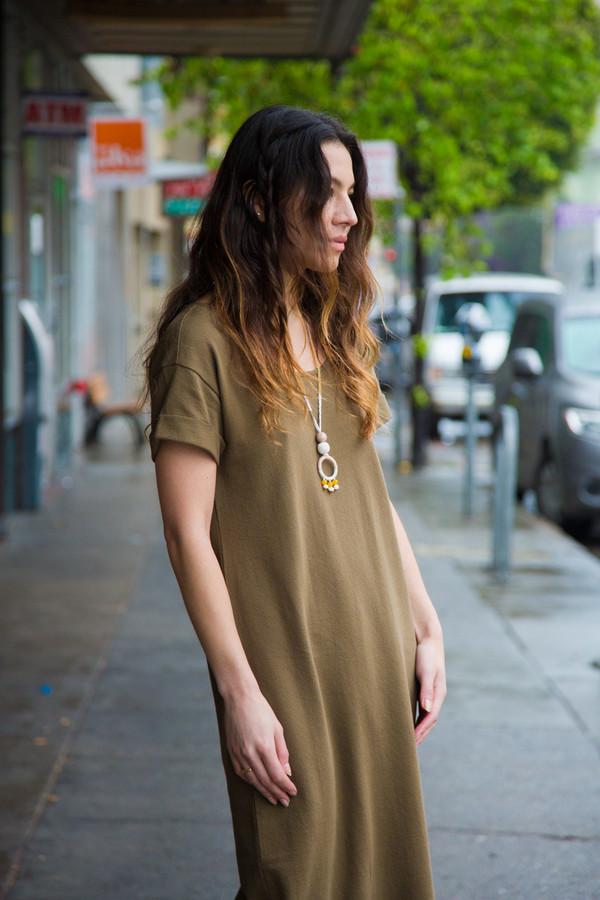 Ali Golden Roll Sleeve T-shirt Dress - Olive