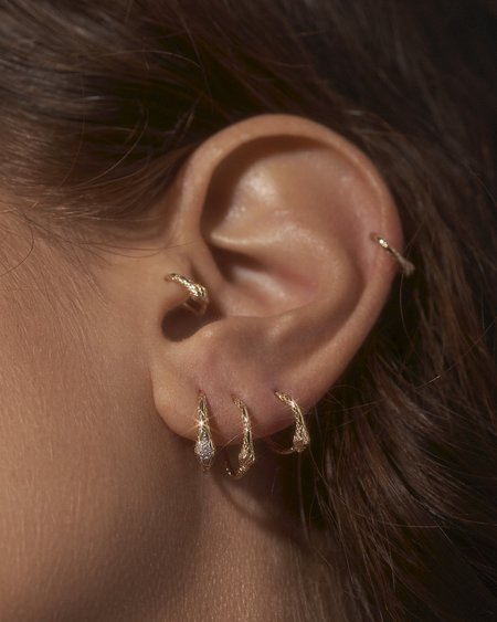 Pamela Love 11mm Serpent Clicker earrings - 14k yellow gold