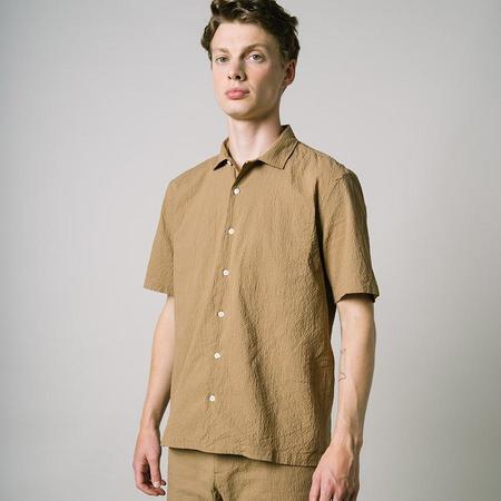 Kestin Eyemouth Vacation Shirt - Dark Tan Seersucker