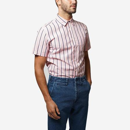 Portuguese Flannel Spring Short-Sleeve Shirt - Pink Stripe