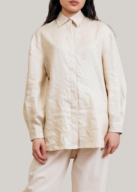 AMOMENTO Linen Long Shirt - Beige