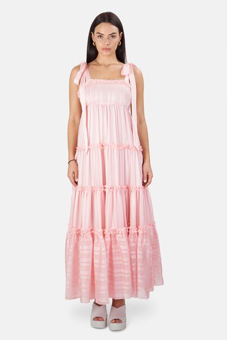 LoveShackFancy Burrows Dress - Pale Pink Dogwood