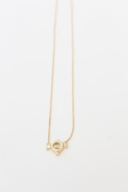 Aesa Star Elipse Pendant Necklace 10k Gold