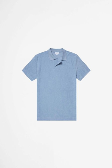Sunspel Organic Cotton Towelling polo - washed denim
