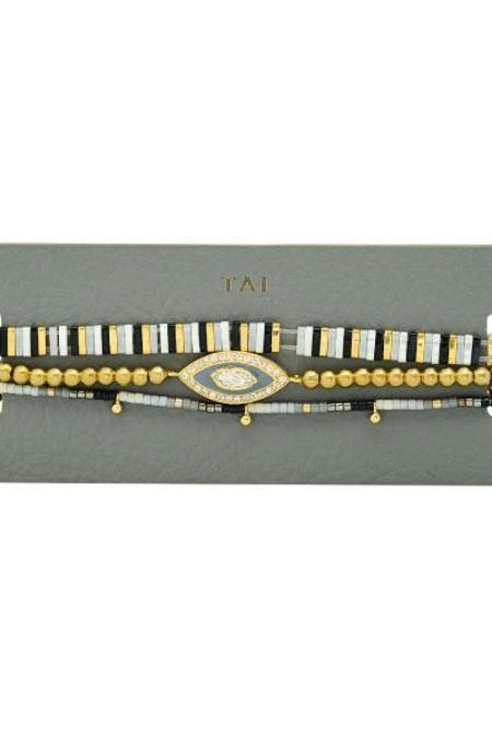 tai Set of 3 Beaded Bracelet - Grey
