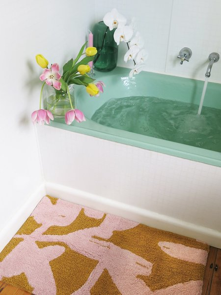 Mosey Me Abstract Bath Mat - Pink/Mustard
