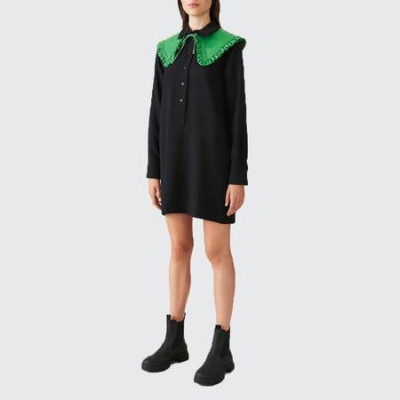 Ganni Heavy Crepe Mini Dress - BLK