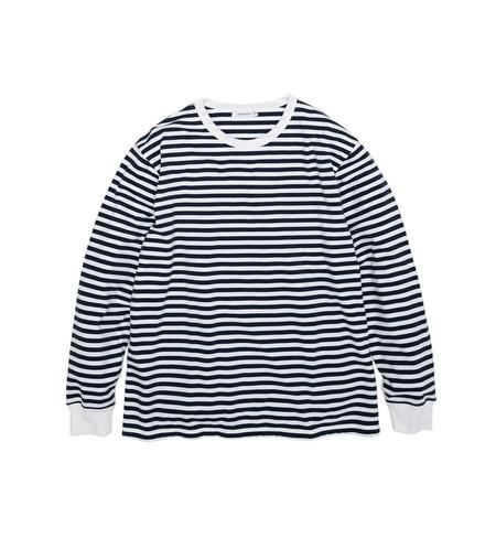 Nanamica COOLMAX Jersey L/S Tee - Navy/White