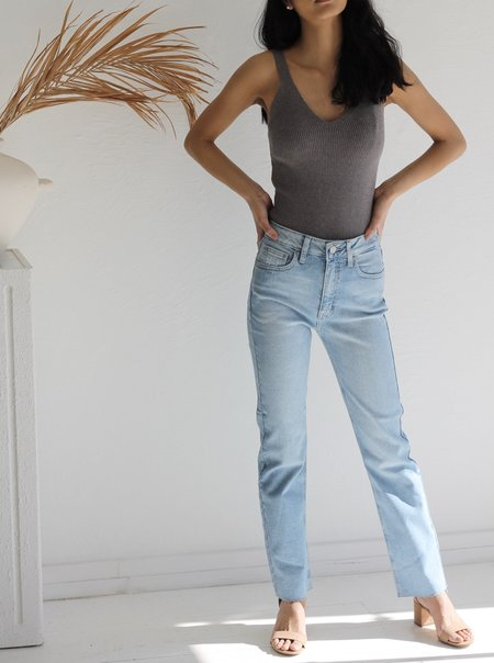 Just Black Denim Cropped Straight Leg - blue