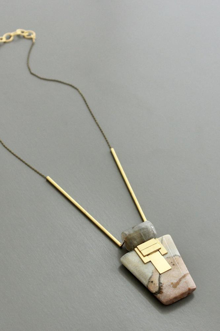 Tapered Grey Quartz and Agate Pendant Necklace