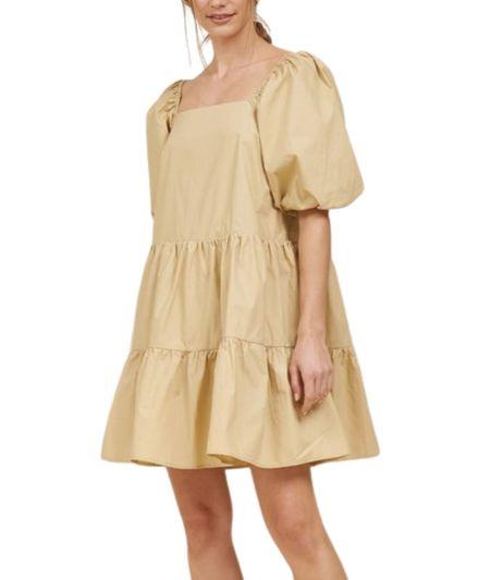 Lola Puff Sleeve Poplin Dress - Butterscotch