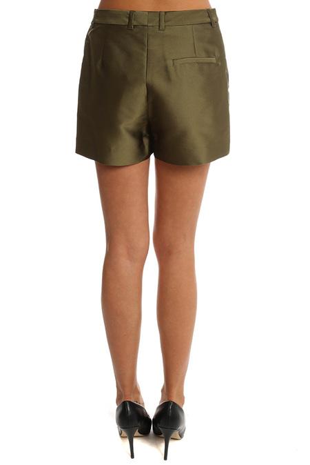 3.1 Phillip Lim Satin Flat Front Shorts - Everglade