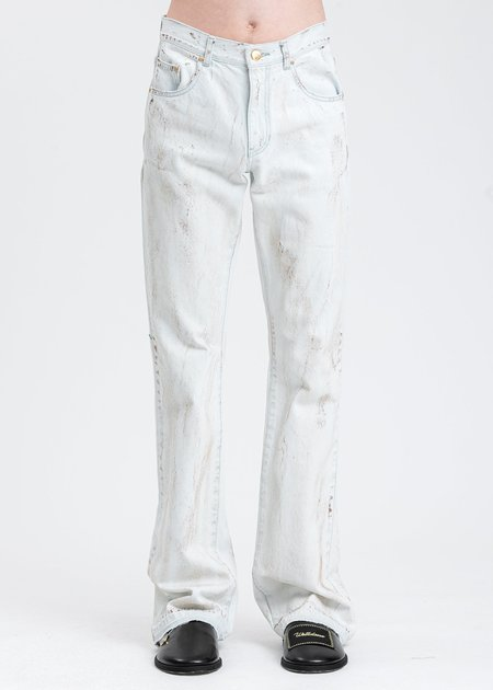 we11done Ice Oid Coated Boots Cut Jeans - ice white