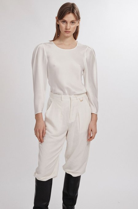 Silk Laundry ORIGAMI SLEEVE TOP - WHITE