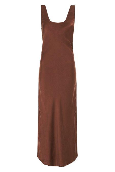 Silk Laundry SCOOP NECK BIAS DRESS - CHOCOLATE