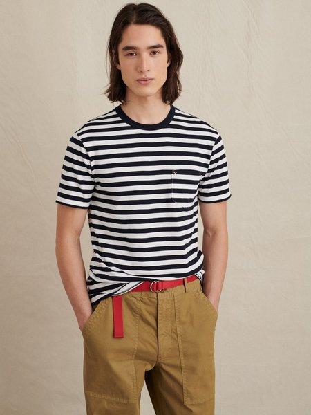 Alex Mill Striped Slub Cotton Pocket Tee - Navy/White