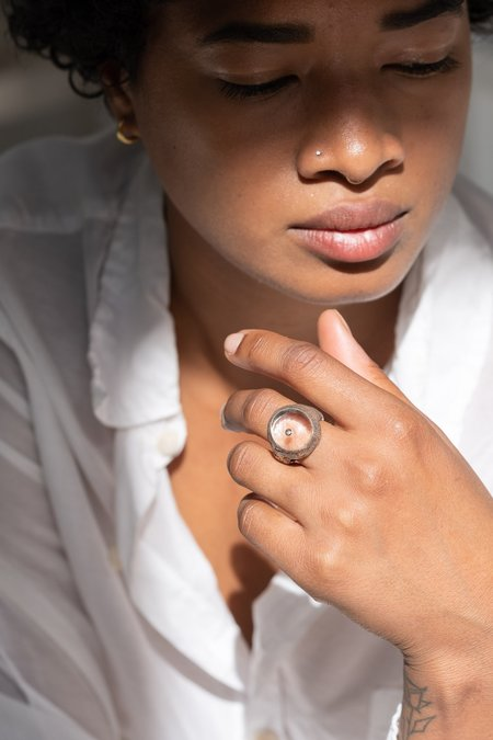 Lou Zeldis Sterling Crystal Ring