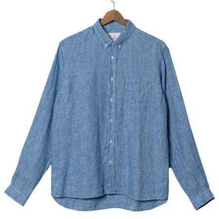 La Paz BRANCO Micro Squares Button Down Shirt - blue