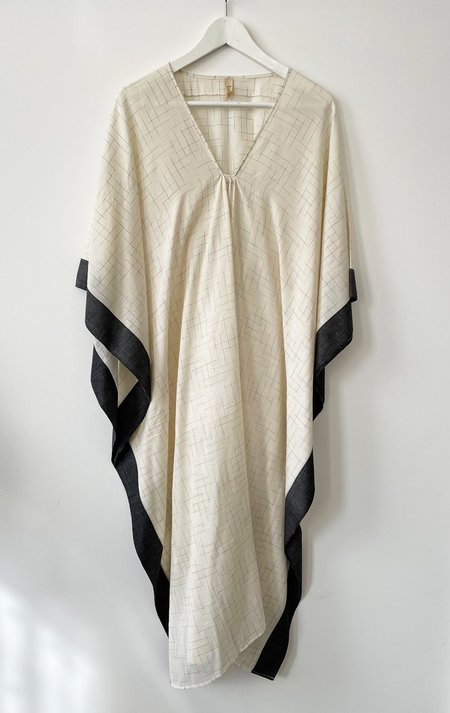 Two CAFTAN dress - WHITE/BLACK BORDER