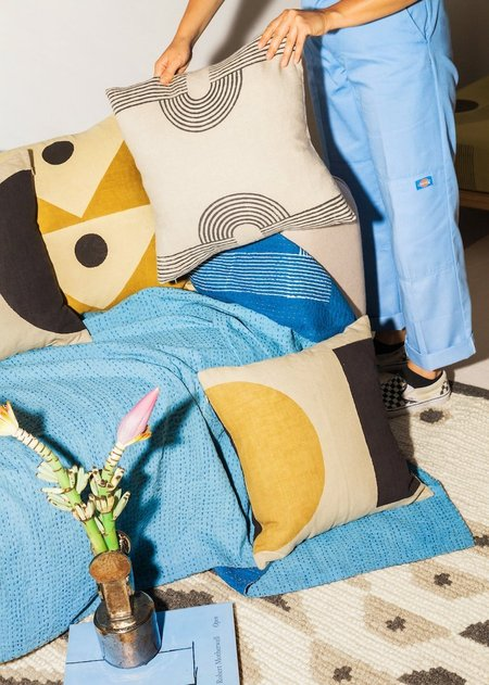 Block Shop Textiles Pillow Case - Dot Dash/Ochre/Black