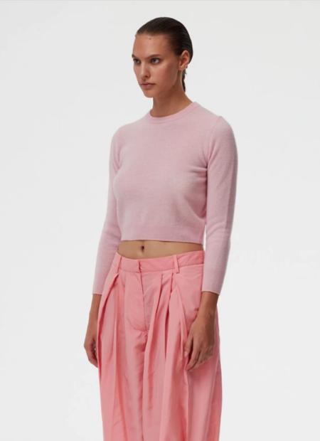 Tibi Cashmere Shrunken Sweater - Blossom Pink