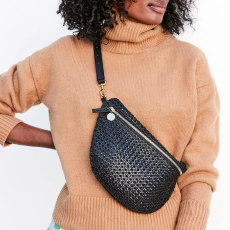 Clare V. Grande Rattan Fanny bag - black