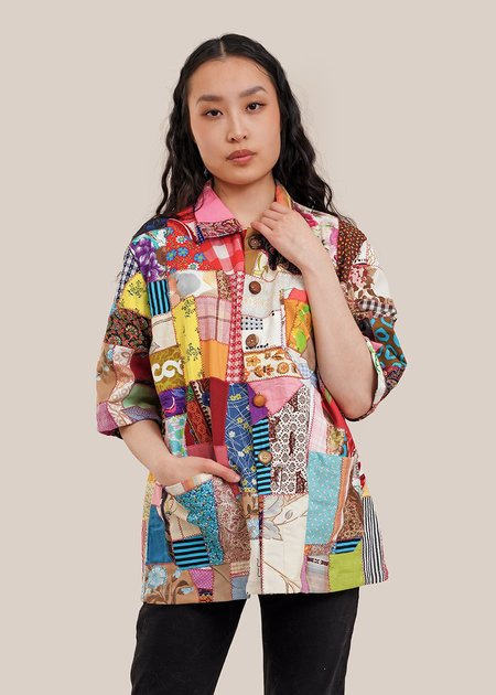 The Series Stripe Scrap Quilted Chore Shirt - Multi