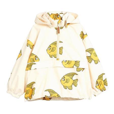 kids Mini Rodini Baby And Child Fish Rain Jacket - cream