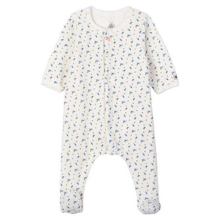 KIDS Petit Bateau Baby Labeur Pyjamas - White Floral Print