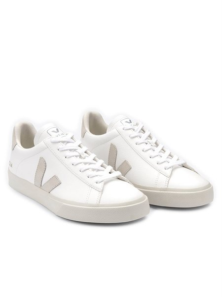 VEJA Campo Chromefree Leather Sneakers - White/Natural Suede