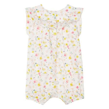 kids Petit Bateau Baby Floral Print Ruffle Romper - Yellow