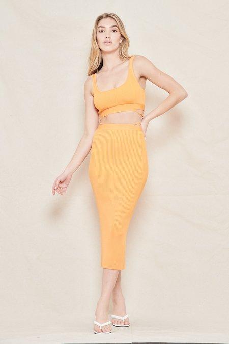 Jonathan Simkhai Sade Compact Rib with Bra Straps Fitted Midi Skirt