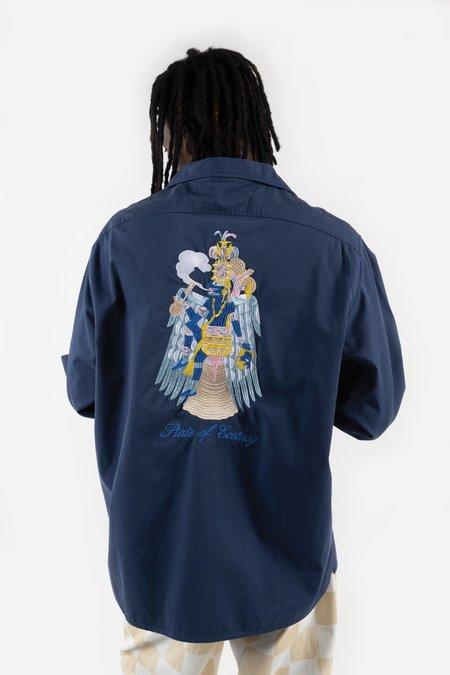 Reception Clothing LS Bowling Shirt - Poplin Work Blue