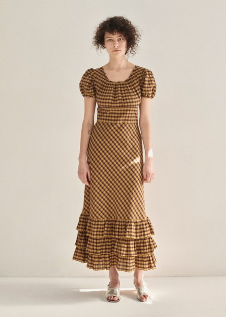 Caramel Gathered Dress - Mustard Check