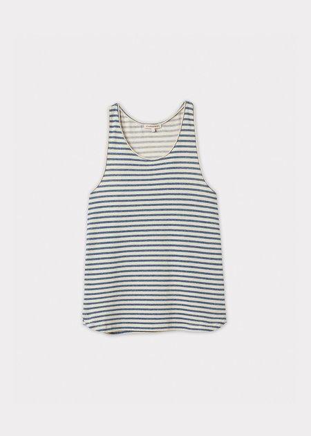 Caramel Tank Top - Blue/Ivory Stripe