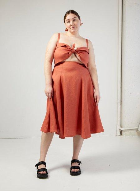 Eliza Faulkner Linen Molly Top - Terracotta
