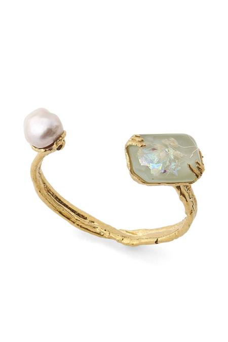 Forte Forte Iridescent Resin and Pearl Bracelet - Mint/brass
