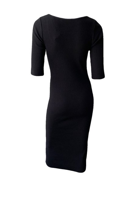 VINCE Ribbed Elbow Sleeve Scoop Neck Dress - Black
