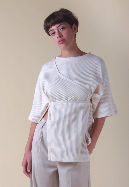 Baserange Shaw Fleece Rib  T-Shirt - Off White