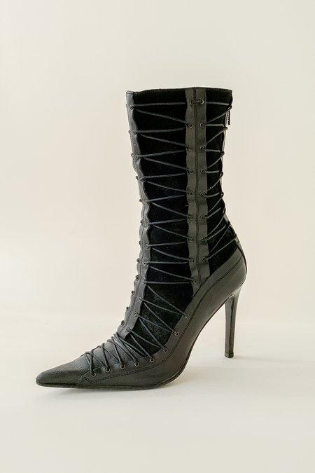 Vintage Lace Up Suede Boots - black