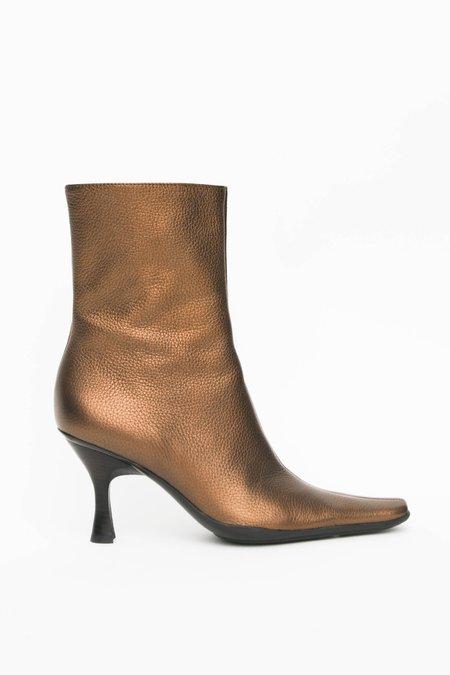 Vintage Pebbled Leather Heeled Boots - Bronze