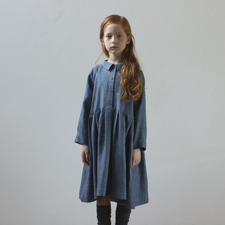 Kids Muku Pleated Dress with Collar - Denim Blue