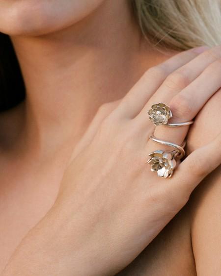 Pamela Card Large Anemone Ring - sterling silver
