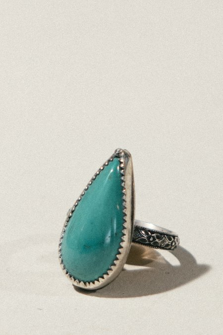 Pigeon Heart Teardrop Turquoise Ring - sterling silver